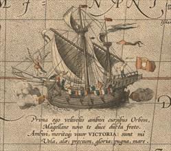 The Victoria, a Spanish carrack, ship of Ferdinand Magellan?s Armada de Molucca. (Aus Maris Pacific Artist: Ortelius, Abraham (1527-1598)