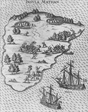 Death of Magellan on the Philippine island of Mactan. (From Levinus Hulsius's Beschreibung der wunde Artist: Anonymous