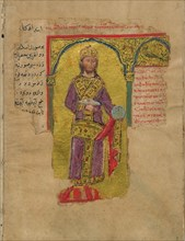Alexander the Great in the Byzantine Emperor Dress (Miniature from the Alexander romance), 14th cent Artist: Byzantine Master