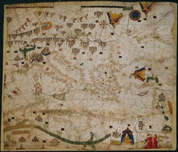 Nautical chart of the Mediterranean Sea and the Black Sea, 1440s. Artist: Rossell (Rosselli), Pere (Petrus) (active 1446-1489)