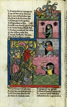 Taking a Castle in Jerusalem (From the Chronicle of the World (Weltchronik) by Rudolf von Ems). Artist: Master of the Chronicle of the World (Weltchronik) (active ca 1300)
