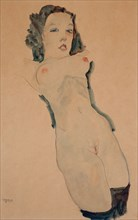 Reclining Nude with Black Stockings. Artist: Schiele, Egon (1890?1918)