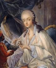 Jeanne Bécu, comtesse Du Barry (1743-1793) with a cup of coffee. Artist: Gautier Dagoty, Jean-Baptiste André (1740-1786)