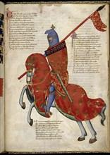 A knight from Prato (From Regia Carmina by Convenevole da Prato). Artist: Pacino di Buonaguida (active 1302-1343)