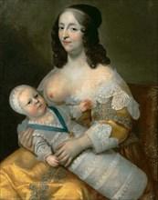 Louis XIV as an infant with his nurse Longuet de La Giraudière. Artist: Beaubrun, Henri (1603-1677)
