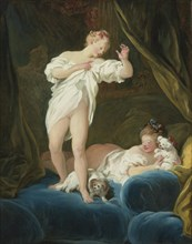 Two Girls on a Bed Playing with their Dogs. Artist: Fragonard, Jean Honoré (1732-1806)