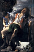 Saint Roch Comforted by an Angel. Artist: Saraceni, Carlo (1579-1620)