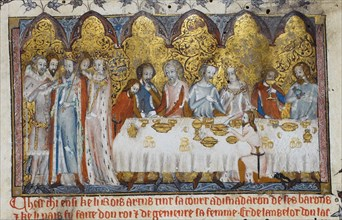 Feasting at King Arthur's Court, 13th century. Artist: Anonymous