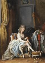 Woman at Her Toilette. Artist: Lafrensen, Niclas (1737-1807)