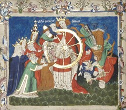 The Wheel of Fortune (from an manuscript of Troy Book by John Lydgate), Mid of the 15th century. Artist: Anonymous