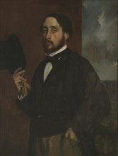 Self-portrait with Raised Hat, ca 1863. Artist: Degas, Edgar (1834-1917)