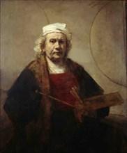 Self portrait with two circles, ca 1665-1669. Artist: Rembrandt van Rhijn (1606-1669)