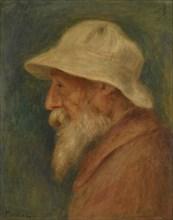 Self-portrait with white hat, 1910. Artist: Renoir, Pierre Auguste (1841-1919)