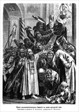 Murder of Archbishop Ambrosius during the Moscow plague riot of 1771, 1872. Artist: Koverznev, Pyotr Yefimovich ((?-1877))