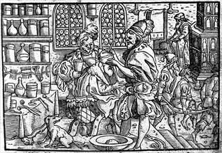 Operation on a man's head. From: Die große Wundarzney by Theophrastus Bombastus von Hohenheim, 1562. Artist: Anonymous