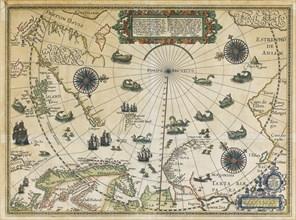 Map of Willem Barentsz Third Voyage, 1598. Artist: Claesz, Cornelis (ca. 1551-1609)