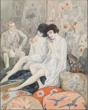 Lady in Her Boudoir, 1929. Artist: Apsit, Alexander Petrovich (1880-1944)