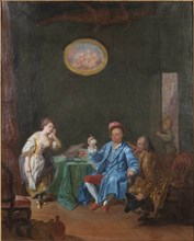 Joseph Balsamo, comte de Cagliostro, in his cabinet, creating an Homunculus.
