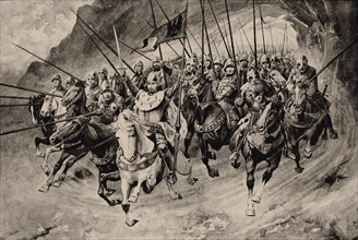 Saint Wenceslas and his Blanik knights set off from the mountain. Illustration from Stare povesti ce
