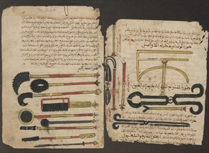 Surgical instruments. Manuscript of Al-Tasrif (The Method of Medicine) by Abulcasis, ca 1213-1223.
