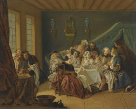An Interior With Elegant Figures Dining, .