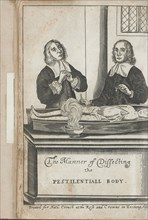 Two men dissecting a body with plague marks, 1666.