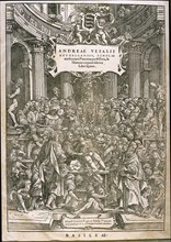 Title page from De humani corporis fabrica by Andreas Vesalius, ca 1543.