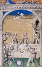 Miniature from Le Remède de Fortune by Guillaume de Machaut. Feast scene, 1355-1360.