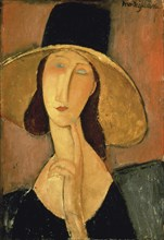 Jeanne Hébuterne with big hat, 1918.