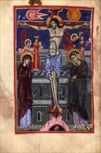 The Crucifixion (Manuscript illumination from the Matenadaran Gospel), 14th-15th century.