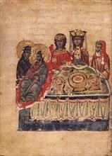 The Wedding Feast at Cana (Manuscript illumination from the Matenadaran Gospel), 1332.
