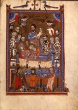 The Dormition of the Virgin (Manuscript illumination from the Matenadaran Gospel), 14th century.