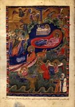 The Nativity of Christ (Manuscript illumination from the Matenadaran Gospel), 1314.