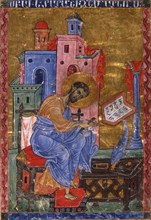 Mark the Evangelist (Manuscript illumination from the Matenadaran Gospel), 13th century.