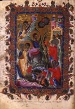 The Entry of Christ into Jerusalem (Manuscript illumination from the Matenadaran Gospel), 1286.