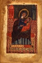 Mother of God and child (Manuscript illumination from the Matenadaran Gospel), 1378.