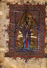 Saint Basil the Great (Manuscript illumination from the Matenadaran Gospel), 1286.