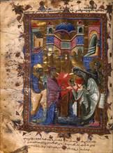 The Presentation of Jesus at the Temple (Manuscript illumination from the Matenadaran Gospel), 1286.