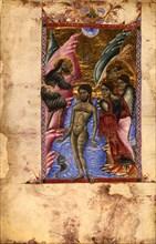 The Baptism of Christ (Manuscript illumination from the Matenadaran Gospel), 1287.