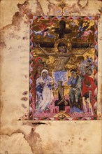 The Crucifixion (Manuscript illumination from the Matenadaran Gospel), 1287.