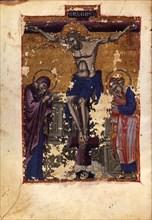 The Crucifixion (Manuscript illumination from the Matenadaran Gospel), 1401.