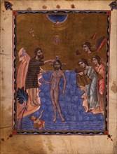 The Baptism of Christ (Manuscript illumination from the Matenadaran Gospel), 1268.