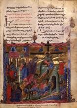 The Deposition (Manuscript illumination from the Matenadaran Gospel), 1286.