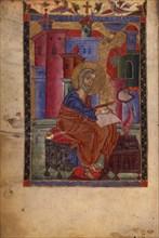 Saint Matthew the Evangelist (Manuscript illumination from the Matenadaran Gospel), 14th century.