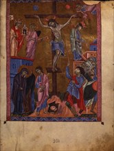 The Crucifixion (Manuscript illumination from the Matenadaran Gospel), 1268.