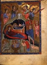 The Nativity of Christ (Manuscript illumination from the Matenadaran Gospel), 1268.