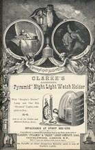 Clarkes Pyramid Night Light Watch Holder, 1893. Artist: Unknown