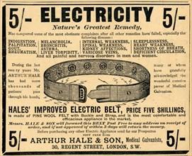 Arthur Hale Electric Belt, 1910. Artist: Unknown