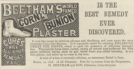 Beetham's Corn and Bunion plasters, 1893. Artist: Unknown