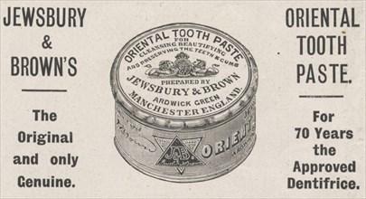 Jewsbury & Browns Oriental tooth paste, 1898. Artist: Unknown